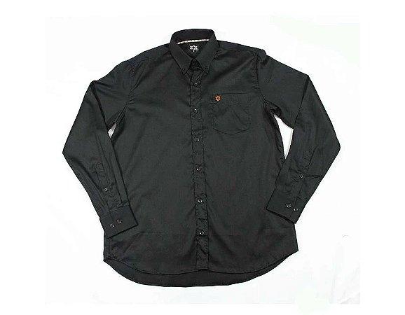 Camisa Tuff Masc ML Lisa Preta Logo Laranja SL1325L