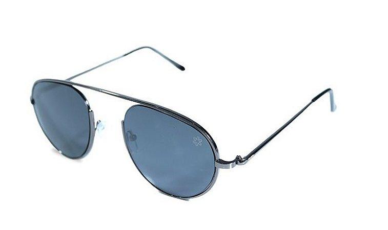 Óculos Tuff Prata Envelhecido Lente Preta Sunglasses