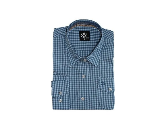 Camisa Tuff Fem ML Listrado Azul Claro Escuro