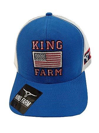 Boné King Farm Azul Bic Bandeira KF15