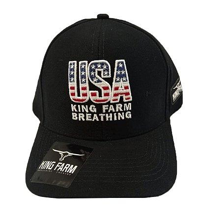 Boné King Farm Preto Breathing USA KF202021