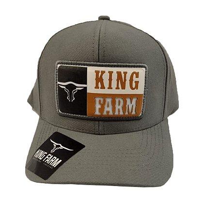 Boné King Farm Cinza Escuro Logo Emborrachado KF37
