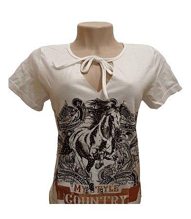 Camiseta Minuty Feminina Style Country Palha MF757