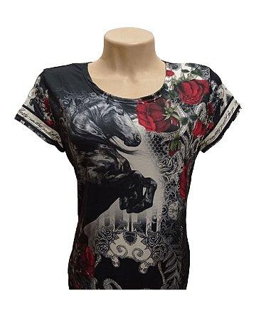 Camiseta Minuty Feminina Horse Black MF2020DHB