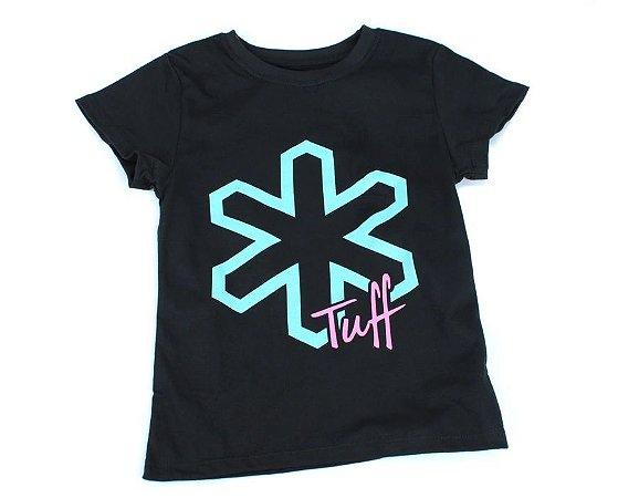 Camiseta Tuff Infantil Preta Logo Turquesa TS3614