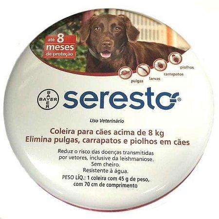 Coleira Seresto para Cães acima de 8Kg + BOLSA PET FACE GRÁTIS