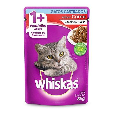Whiskas Sachê Carne ao Molho para Gatos Adultos Castrados