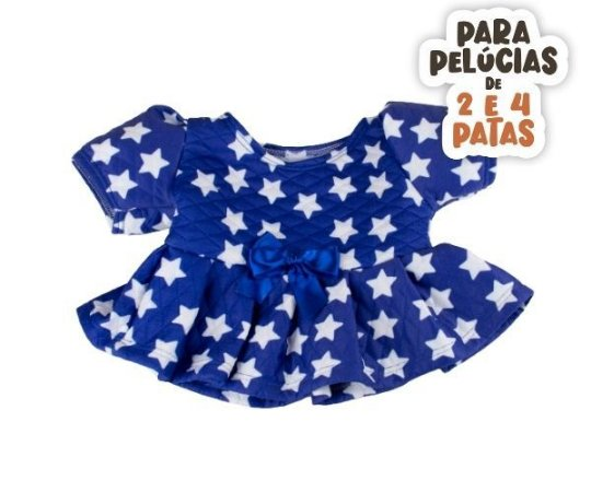 Vestido Matelassê Azul Estrela