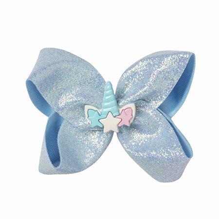 Laço Azul de Glitter Criamigos