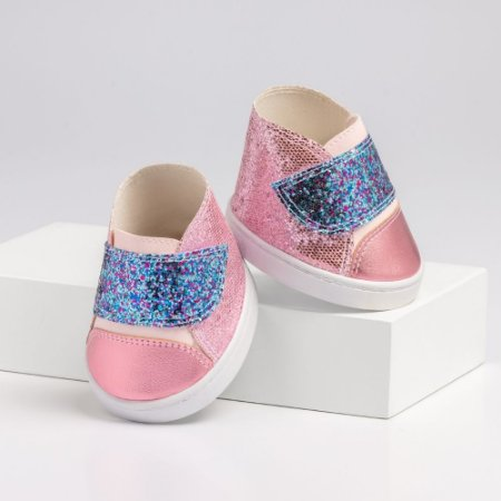Tênis de Velcro Rosa e Azul Glitter Criamigos