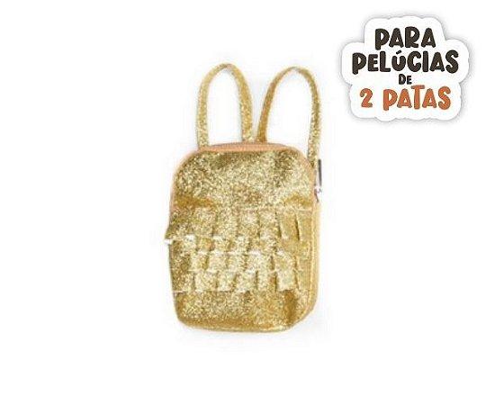 Mochila Glitter Zipper Dourado