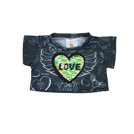 Camiseta Preta Coração Reversível
