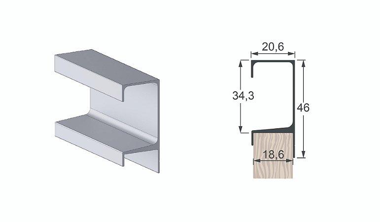 Perfil Puxador Form 47 Alumínio Anodizado c/ 6m