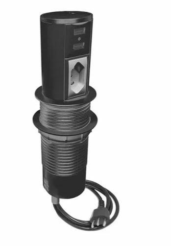 Mini Totem Automatico 1 Tomada NBR + 2 Conectores USB Preto