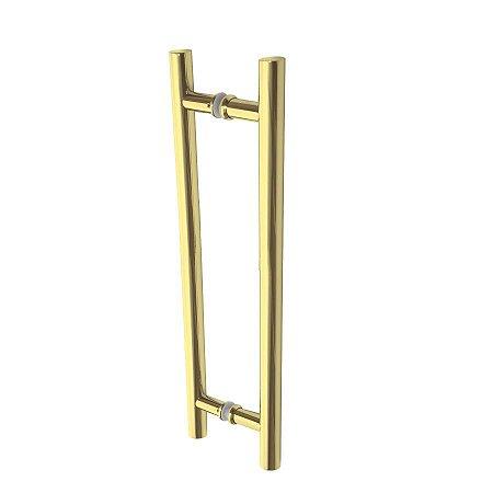 Puxador para Dupla Fixação de Porta de Vidro ou Madeira DF907 Inox 202 Dourado 600mm