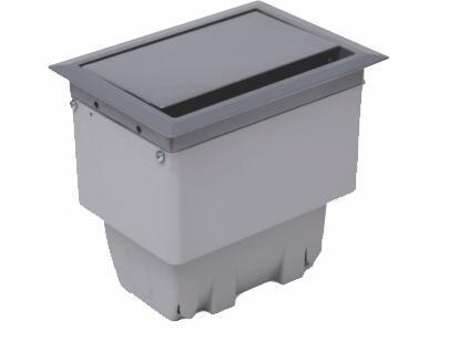 Caixa Openbox Alumínio 4Bl Cinza 2 Elétrico 1 Bloco Cego 1 Bloco para RJ45 Key