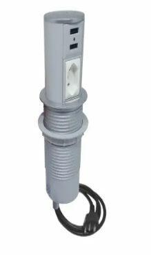 Mini Totem  Automatico 1 Tomada NBR + 2 Conectores USB Cinza