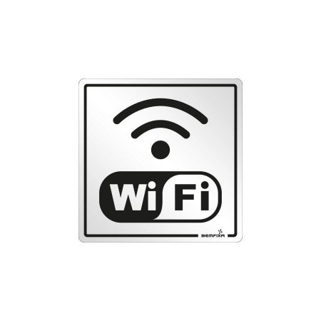 Placa Sinalizadora Wifi Alumínio 15 x 15cm Autoadesiva