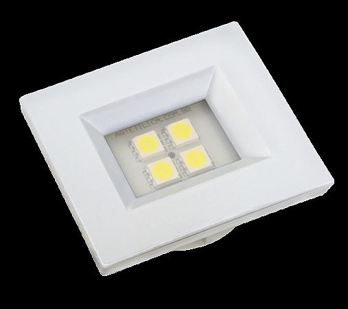 Luminaria Retangular 35mm 40X46 4 Leds - Luz Fria - BRANCO