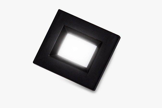 Luminaria Retangular 35mm 40X46 4 Leds - Luz Quente - PRETO
