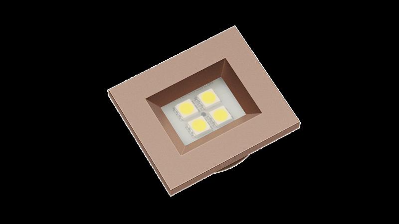 Luminaria Retangular 35mm 40X46 4 Leds - Luz Fria - TITANIUM