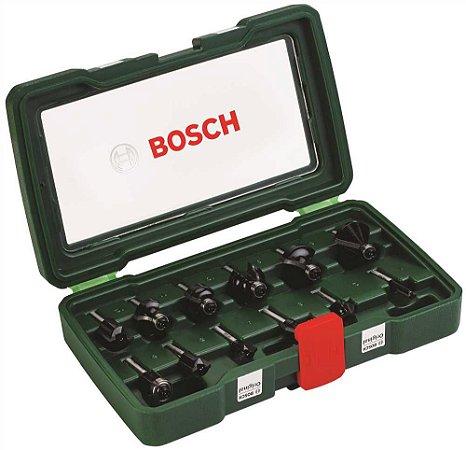 """Jogo de Fresas Bosch para Tupia eixo 1/4"""" com 12 Peças - 2607019465 - Bosch"""