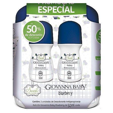 Kit 2 Desodorantes Roll on Blueberry Giovanna Baby 50ml