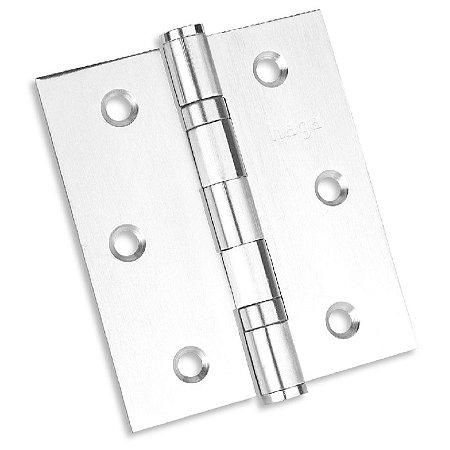 """Dobradiça Reforçada HAGA - Inox 304 - Com Rolamento e Parafuso - 3 1/2 x 3"""" - Par - 26816"""