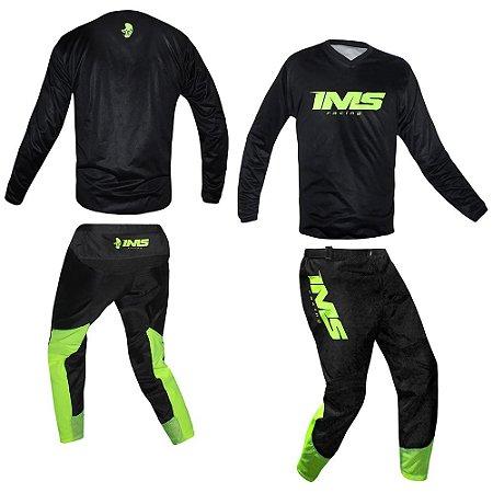 Conjunto Off-Road IMS MX Preto/fluor  - Kit Calça e Camisa