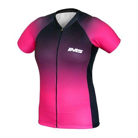 Camisa IMS Napoli feminina rosa ciclismo mtb - zíper inteiro