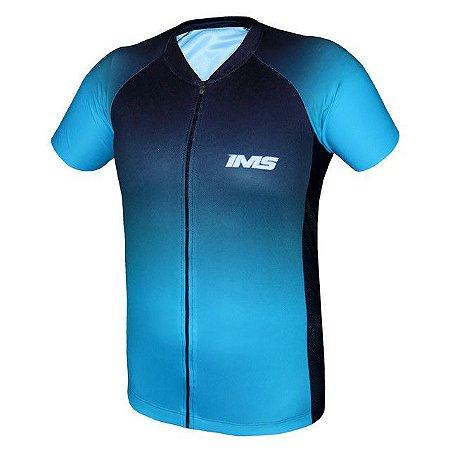 Camisa IMS Napoli feminina azul ciclismo mtb - zíper inteiro