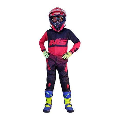 Conjunto Off-Road Infantil IMS Army Vermelho - Kit Calça e Camisa