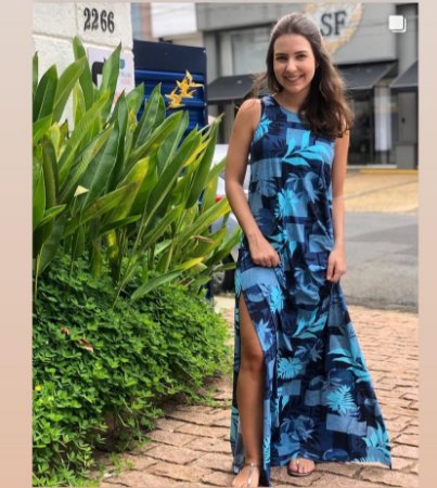 Vestido Longo Azul de Poliamida Biodegradável