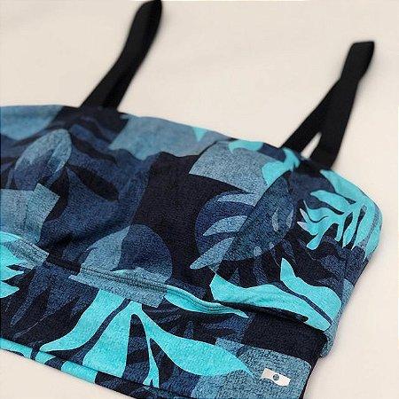Cropped Azul Poliamida Biodegradável- Tecido Sustentável