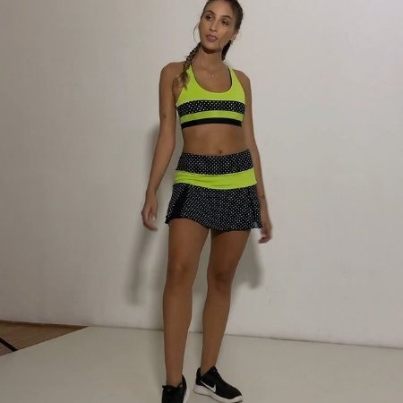 Shorts saia poliamida UV 50 com bolso interno poá/amarelo