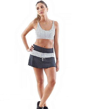 Shorts saia poliamida UV 50 com bolso interno poá tradicional