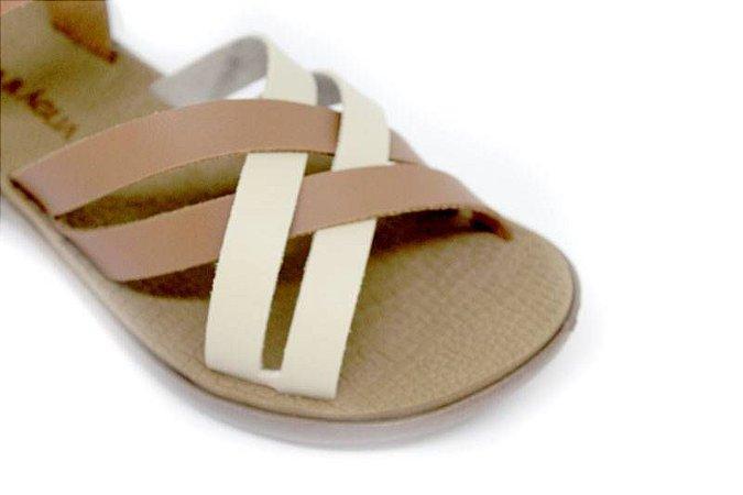 Sandália Tiras Entrelaçadas Duas Cores Terra & Água Comfort