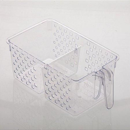 Cesto Organizador com Alça e Duas Divisorias Quadratta 34x19x14cm Cristal