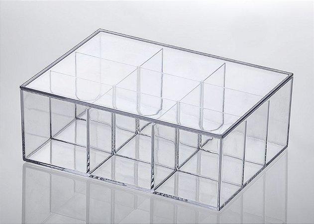 Caixa Organizadora com Divisorias Elegance 22,5x16,5x8,5cm Cristal