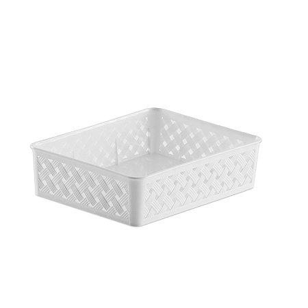 Cesto Organizador Rattan 24x19x6,5cm Branco