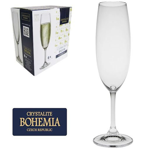 Jogo de 6 Taças Cristal Bohemia Crystalite Sylvia Champanhe 220ml