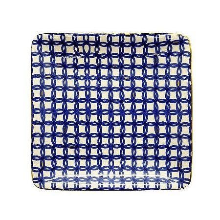 Mini Prato de Cerâmica Quadrado Pintado Azul Círculos