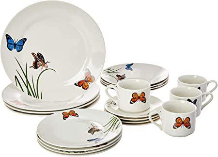 Aparelho de Jantar 20 peças de Porcelana Butterflies Lyor