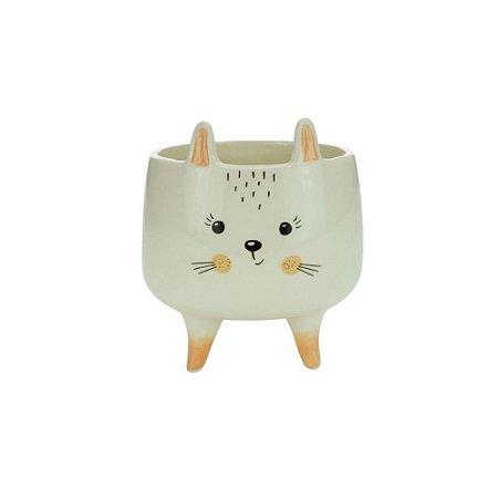 Cachepot Cerâmica Charmy Feet Rabbit Branco