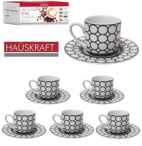 Jogo De 12 Xícaras de Café Porcelana Elos 90ml