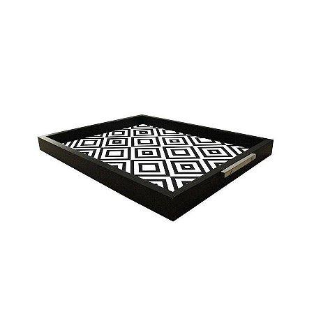 Bandeja Decorativa Preto Geométrica 37x30