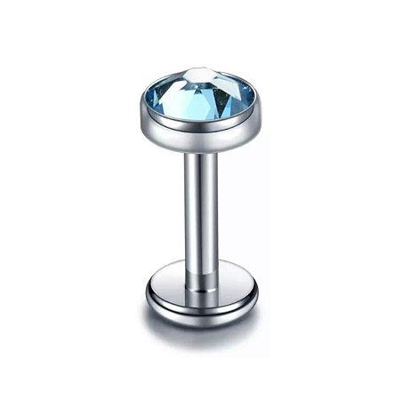 Labret em Titânio com Ponto de Luz Cravejado - Azul - 1.2/8/3mm