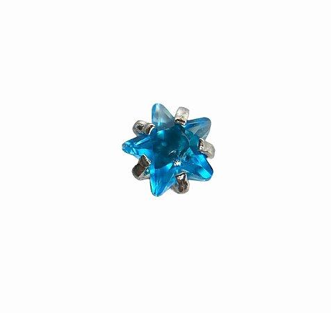 Labret em Aço Ponto de Luz Rosca Interna Estrela -Azul-1.2/8/3mm