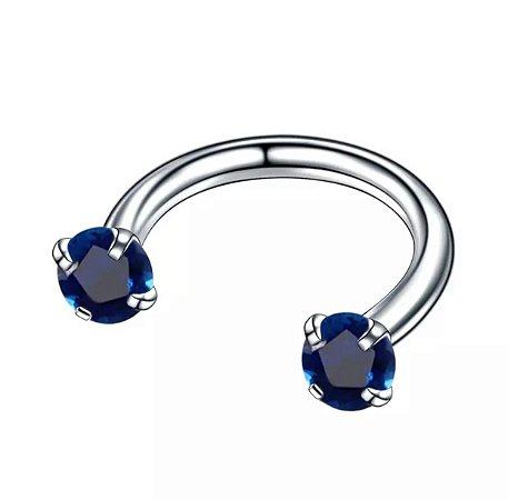 Piercing Ferradura em Aço com 2 Zircônias Azul -1.2/8/3mm