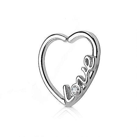 Piercing Daith Coração Love - Semi Jóia